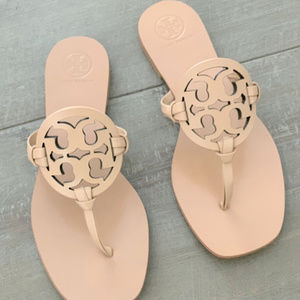 Tory Burch Miller Square-Toe Flat Leather Sandal